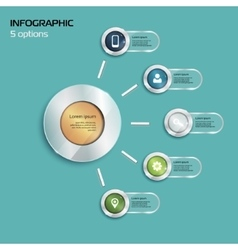 Template infographic 5 options red vector