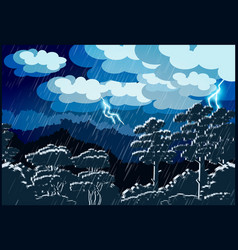 Thunderstorm forest vector