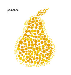 Yellow pear silhouette created from dots vector