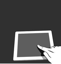 Close up view hands touching screen vector