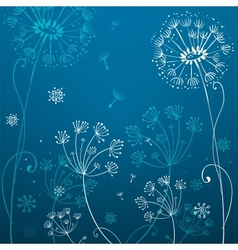Deep blue dandelion flowers vector