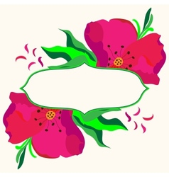 Frame with dogrose flowers composition vector image