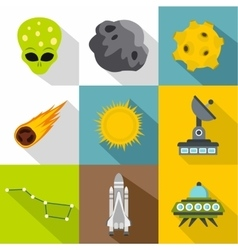 Cosmos icons set flat style vector image