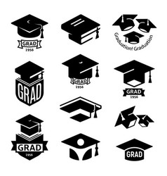 Isolated black and white color students graduation vector