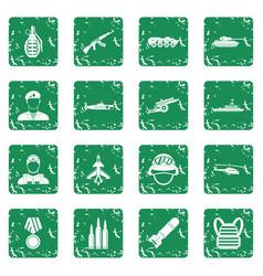 war icons set grunge vector image