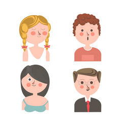 Cute people with different emotions vector