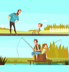 fatherhood 2 retro cartoon banners vector image