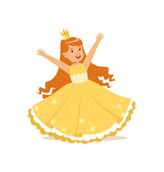 Beautifull redhead little girl princess in a gold vector