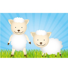 Cute cartoon sheeps with grass and sky vector