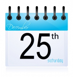 Calendar page for 25th december vector