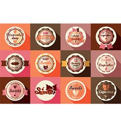 Collection of vintage ice cream and cupcake labels vector