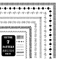 Hand drawn decorative pattern brushes vector