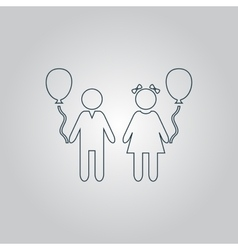 Children and balloon vector