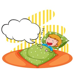 Boy sleeping and snoring vector image