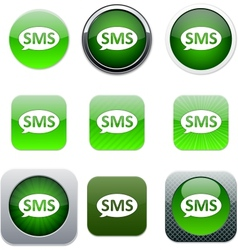 Sms green app icons vector