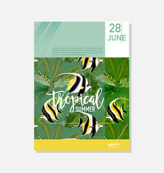Brochure template tropical fish summer graphic vector