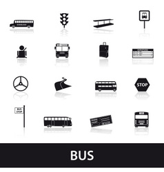 bus transport icons set eps10 vector image vector image