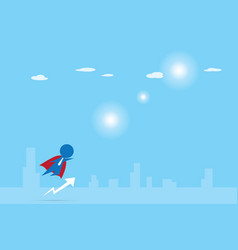 Businessman with red cloak flying into the sky vector