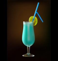 Cocktail blue lagoon with kiwi vector