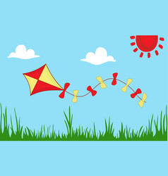 colored kite flies on background of summer sunny vector image