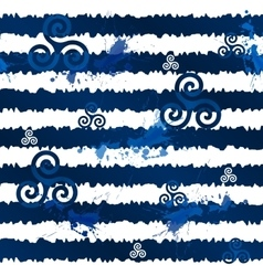 Dark blue grunge stripes with celtic triskels vector