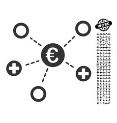 Euro medical links icon with men bonus vector