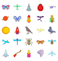 fly icons set cartoon style vector image
