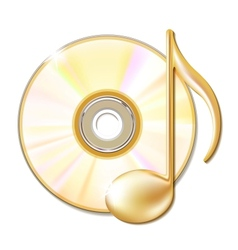 Gold musical note and cd disk vector image vector image
