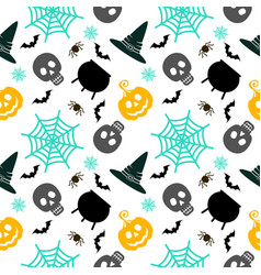 halloween seamless pattern white vector image vector image