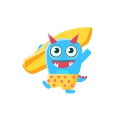 Happy blue monster with horns and spiky tail vector