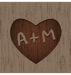 Heart symbol on the wood vector