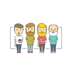 Isolated flat hipster men with beard using vector