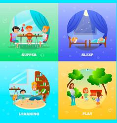 kindergarten characters design concept vector image
