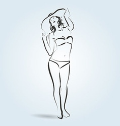 Line sketch of a woman in a bathing suit and hat vector image