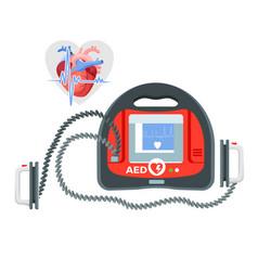 Modern portable defibrillator with small screen vector