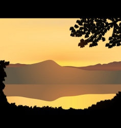 mountain sunset vector image vector image