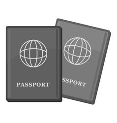 Passport icon gray monochrome style vector image