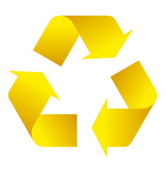 recycle symbol of conservation yellow icon vector image