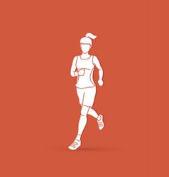 running woman sport woman sprinter marathon vector image vector image