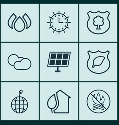 Set of 9 eco-friendly icons includes cloud vector