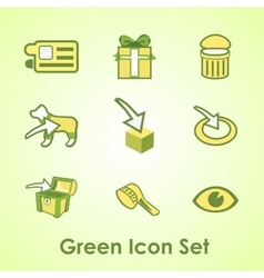 Set of nine objects on a green background vector