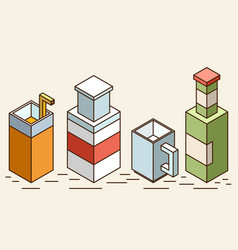 set of stylized isometric cups and glasses of vector image