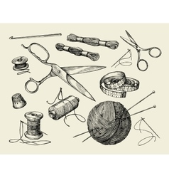Sewing notions hand drawn thread needle vector