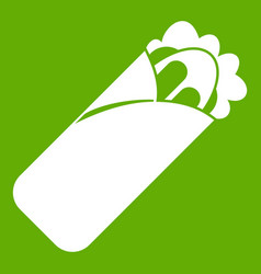 Shawarma sandwich icon green vector