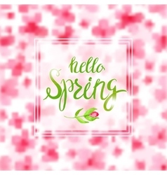 Spring Blurred Background whith Lettering and vector image