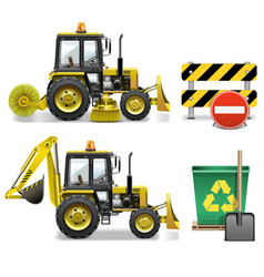 Street Cleaning Icons vector image vector image