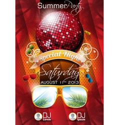 summer beach party flyer design with disco ball vector image