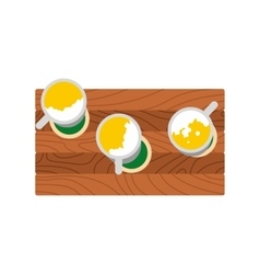 Three mugs of beer on a wooden table icon vector image