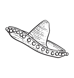 Traditional Mexican wide brimmed sombrero hat vector image