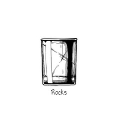 tumbler glass rocks vector image vector image